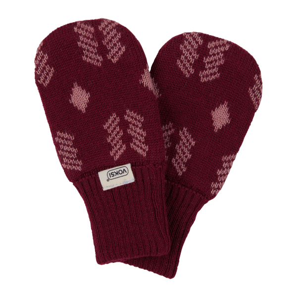Voksi Wool Double Knit Mittens Red New Nordic