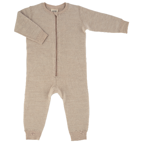 voksi wool double fleece jumpsuit melange sand