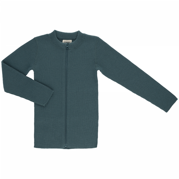 voksi wool rib sweater green